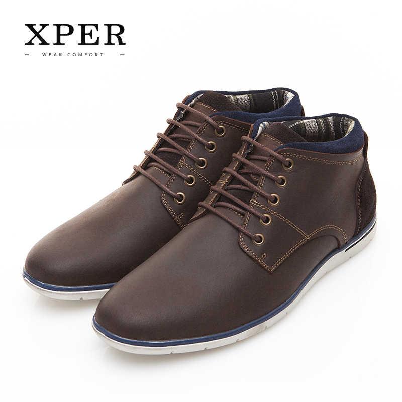 62ef87554 XPER брендовая мужская обувь из натуральной кожи осень-зима Мужские ботинки  100% кожа коровы