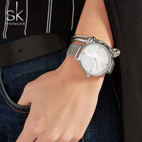 Shengke Brand Watch Ladies Quartz Watches Women Silver Mesh Wristwatch Crystal Luxury Simple Bracelet Watches Relogio