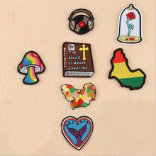 The Map And Music Badge Repair Patch Embroidered Iron On Patches For Clothing Close Shoes Bags Badges Embroidery