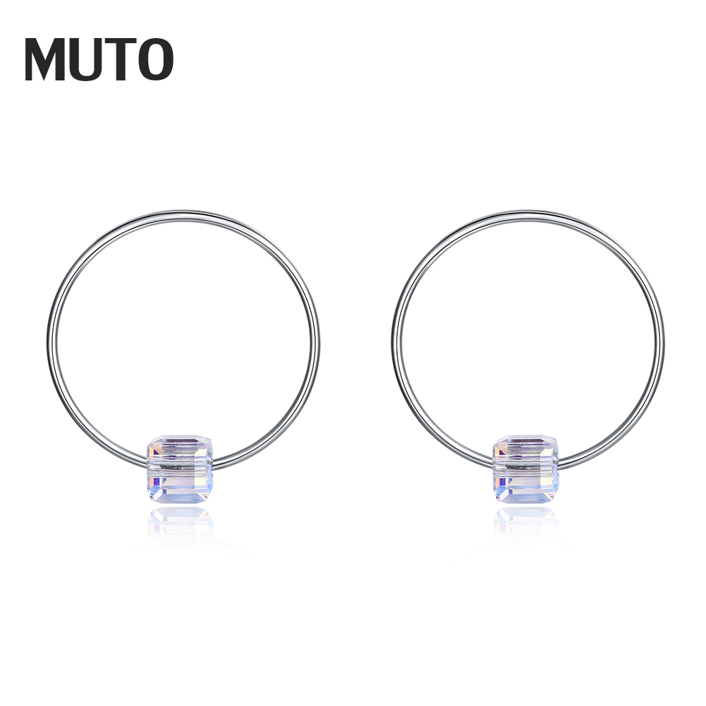 MUTO Circle Shape Pure silver with CZ Women New Stud Earrigs 4M 925 Sterling Silver Fine Jewelry Wholesale SVED4184