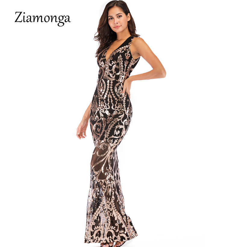 6154ce8e ... Ziamonga Evening Long Dress Sparkle 2019 V-Neck Women Elegant Dresses  Sequin Mermaid Maxi Evening ...