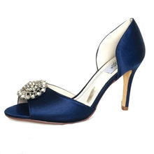 7fe638b0d0 Only 1 pair - Creativesugar navy blue satin evening dress shoes open toe  bridal wedding prom cocktail heels lady pumps crystal