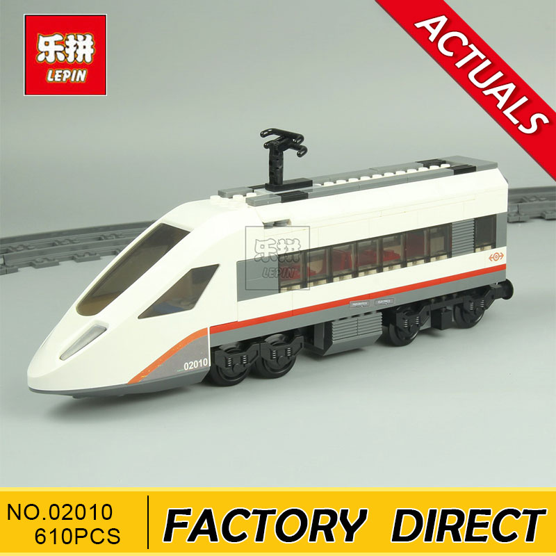 Lepin 02010 610Pcs The High-speed Passenger Train Building Remote-control Trucks Set Blocks Bricks Toys 60051 lepin 02010 610pcs city series building blocks rc high speed passenger train education bricks toys for children christmas gifts