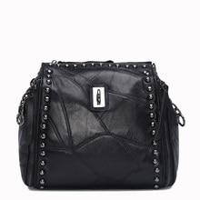 2016 Genuine Leather Rivet Bags Women Messenger Bags High-quality Sheepskin Famous Designer Patchwork Crossbody Shoulder Bags