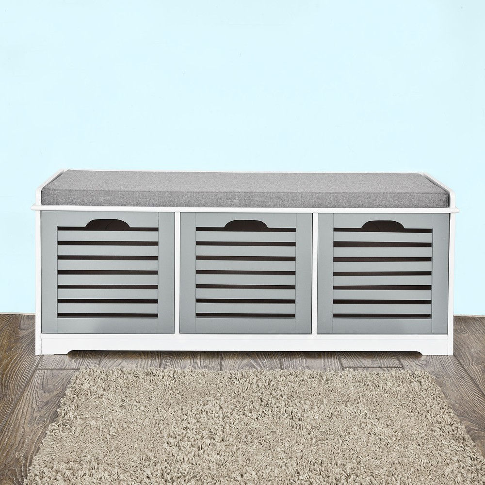 Magnificent Shoe Storage Bench 3 Drawers Padded Seat Cushion Hallway Camellatalisay Diy Chair Ideas Camellatalisaycom