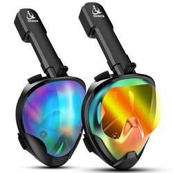 Máscaras de Snorkeling de cara completa vista panorámica Anti-niebla Anti-fuga natación Snorkel buceo subacuático máscara GoPro Compatible