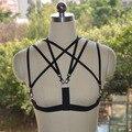Women's fashion, pentagram black elastic harness sexy  cage bra, sexy fetishharness, erotic clothing  O0085