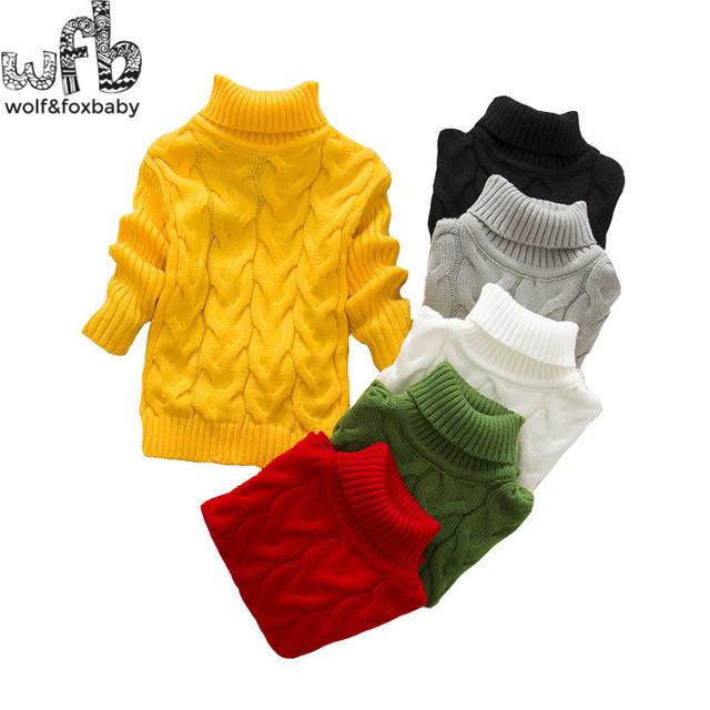 1-4years de cuello alto de punto suéteres de los muchachos al por menor niñas niños bebés niños Ropa Ropa Infantil otoño invierno primavera otoño