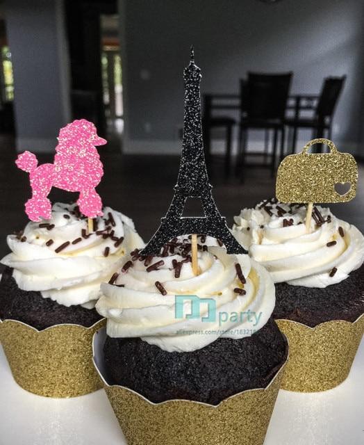 paris bridal shower cupcake toppers eiffel tower topper poddle topper handbag topper wedding bachelorette birthday
