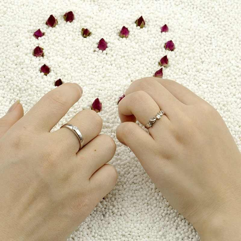 OMHXZJ venta al por mayor anillo de Plata de Ley 925 redimensionable para amantes de la plata del Partido de la boda del hombre de la manera europea para mujer
