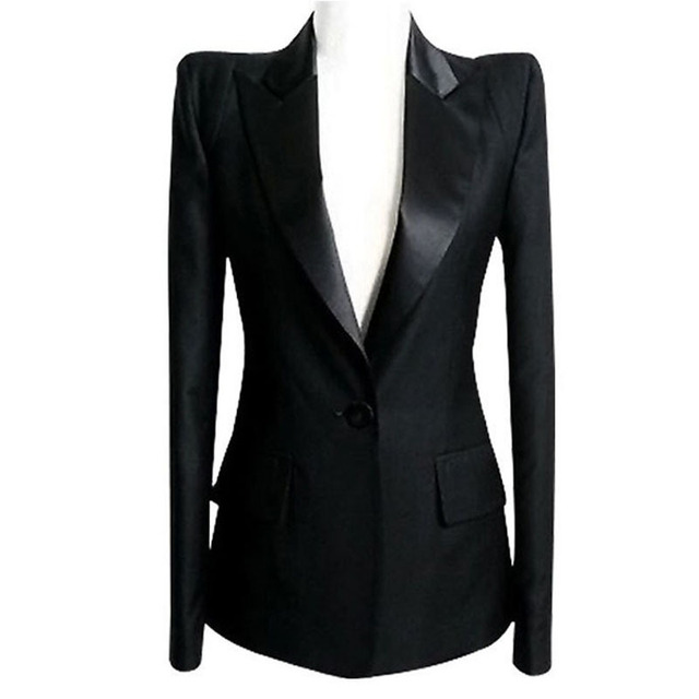 d7d8f6e79a Plus Size Blazers de ombros de ombro botão Blaser feminino Branco preto  Blazer para mulheres Jaqueta