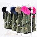 2016 Real Raccoon Fur Vest Luxury Winter Large Raccoon Collar Sleeveless Jacket Waistcoat Army Green Gilet