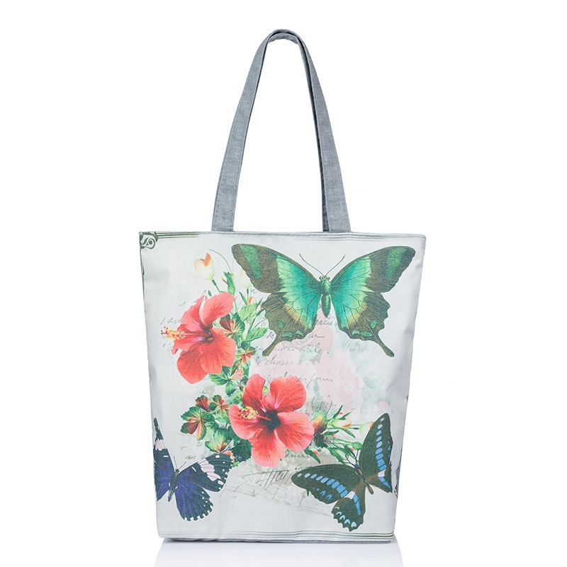 Butterfly Printed Casual Tote Large Capacity Female Handbags Single Shoulder Shopping Bags Daily Use Women Canvas Beach Bag women canvas hobo tote bags casual shoulder bags large capacity shopping bags