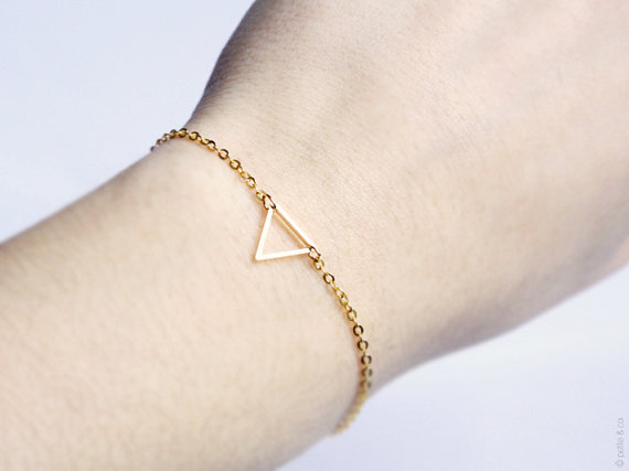Simple Bracelert Thin Chain Triangle Charm Bracelet Antique Silver And Gold Jewelry For Women