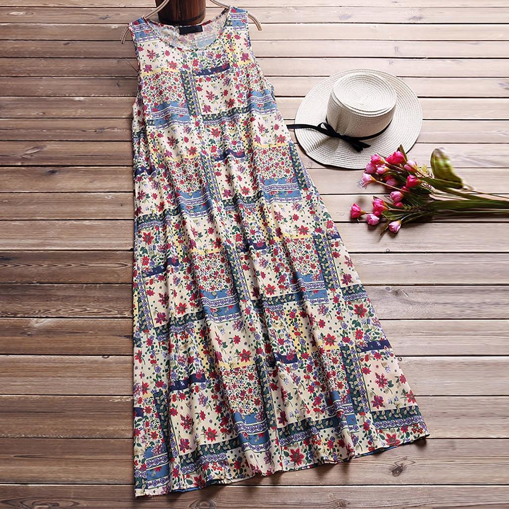 Women's Ladies Floral Print Summer Dress Casual Sleeveless Mini Dress Summer Dresses Fashion Loose beach dresses vestidos 2020