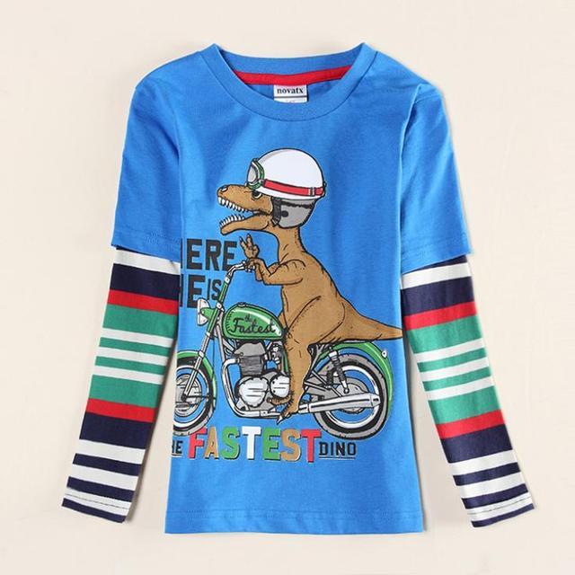 Motobike del muchacho cabritos de la camiseta visten nuevo diseño de la novedad de primavera/otoño de los muchachos camisetas ropa de bebé enfant, dinosaurio de los muchachos camisetas