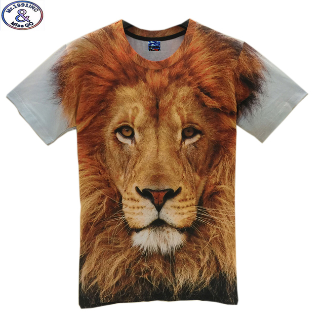 Mr.1991 11-20 years teens t-shirt for boys or girls 3D lion king printed short sleeve round collar summer t shirt  A27