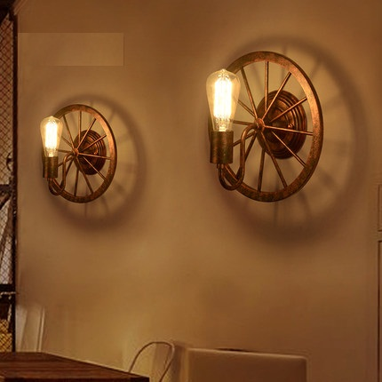 Loft Style Iron Edison Wall Sconce Industrial Lamp Wheels Vintage Wall Light Fixtures Antique Indoor Lighting Lampara Pared loft style iron edison wall sconce industrial lamp wheels vintage wall light for home antique indoor lighting lampara pared