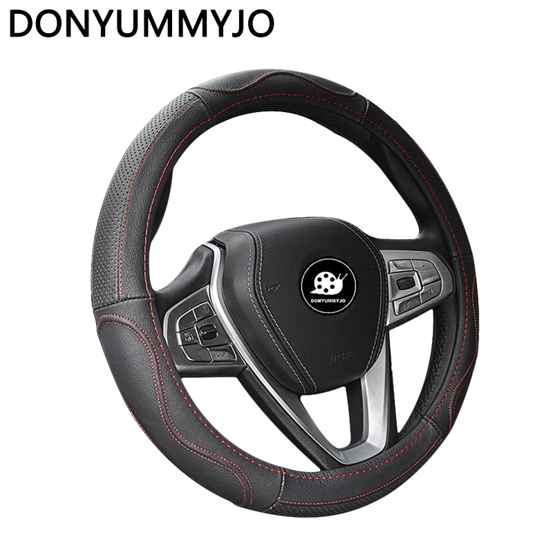 DONYUMMYJO NEW Cowhide Genuine Leather Hand-stitched Car Steering Wheel Cover Breathable and Anti-slip Fit for 95% Cars Styling