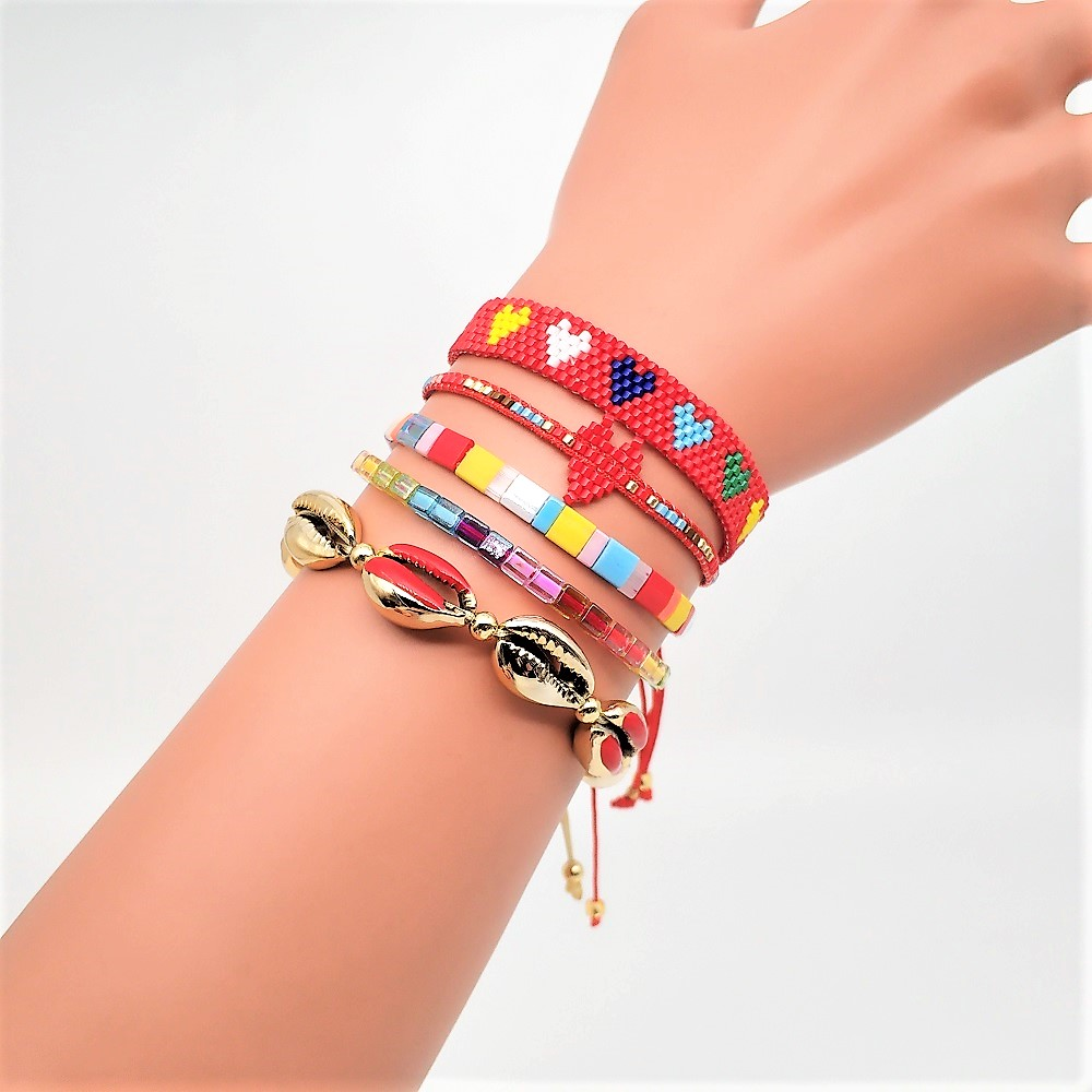 Go2boho Tila Beads Bracelet Women Delica MIYUKI Pulseras Mujer 2019 Summer Jewelry Boho Handmade Gold Punk Shell Heart Bileklik
