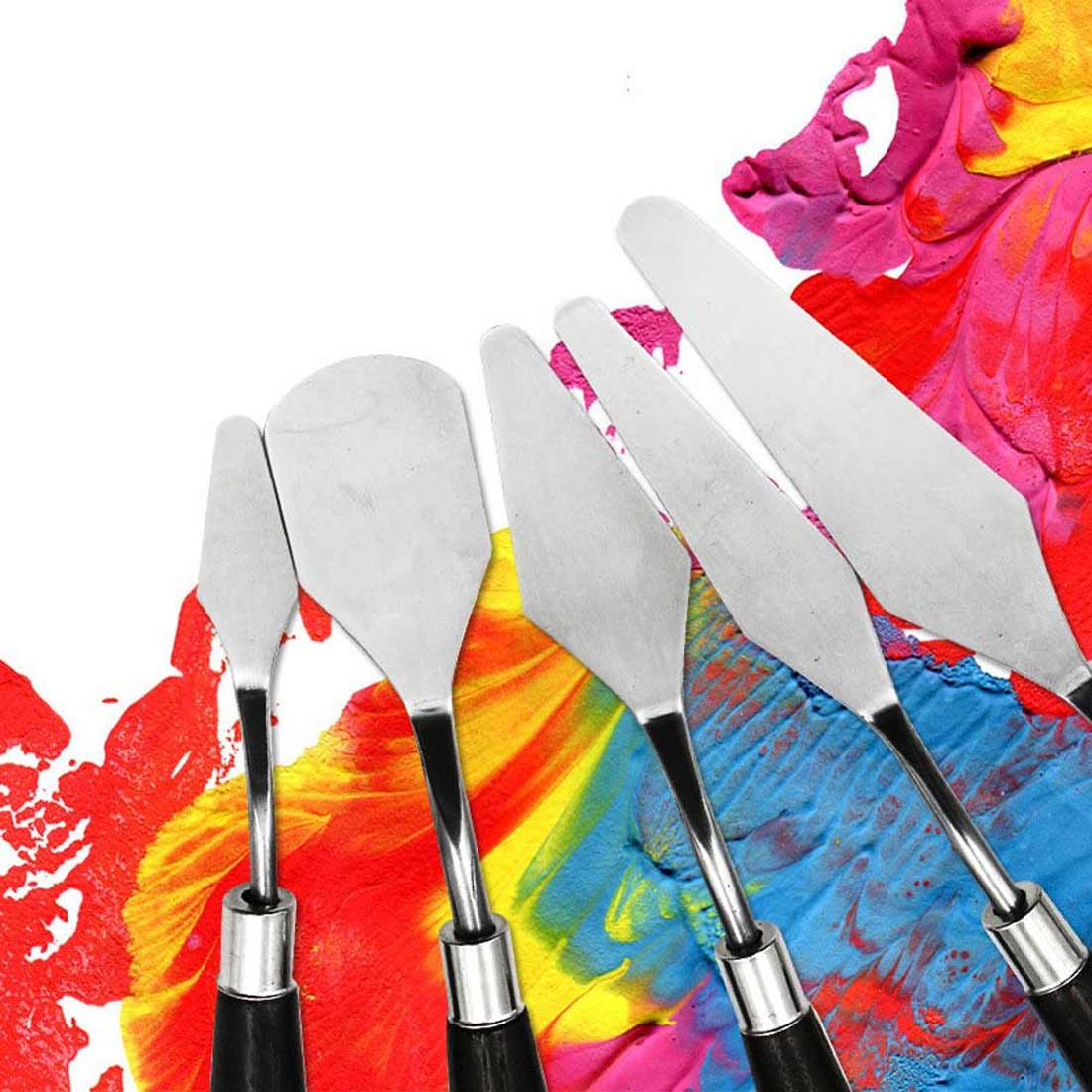 5pcs/set Artist Painting Palette Knife for Thick Oil Painting Spatula Stainless Steel Painting Palette Arts Painting Tool Set image