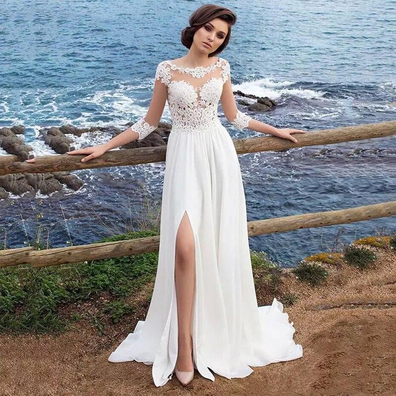 Cheap Chiffon Beach Wedding Dresses vestidos de novia 2019 Lace Appliques Top 3 4 Sleeves Side