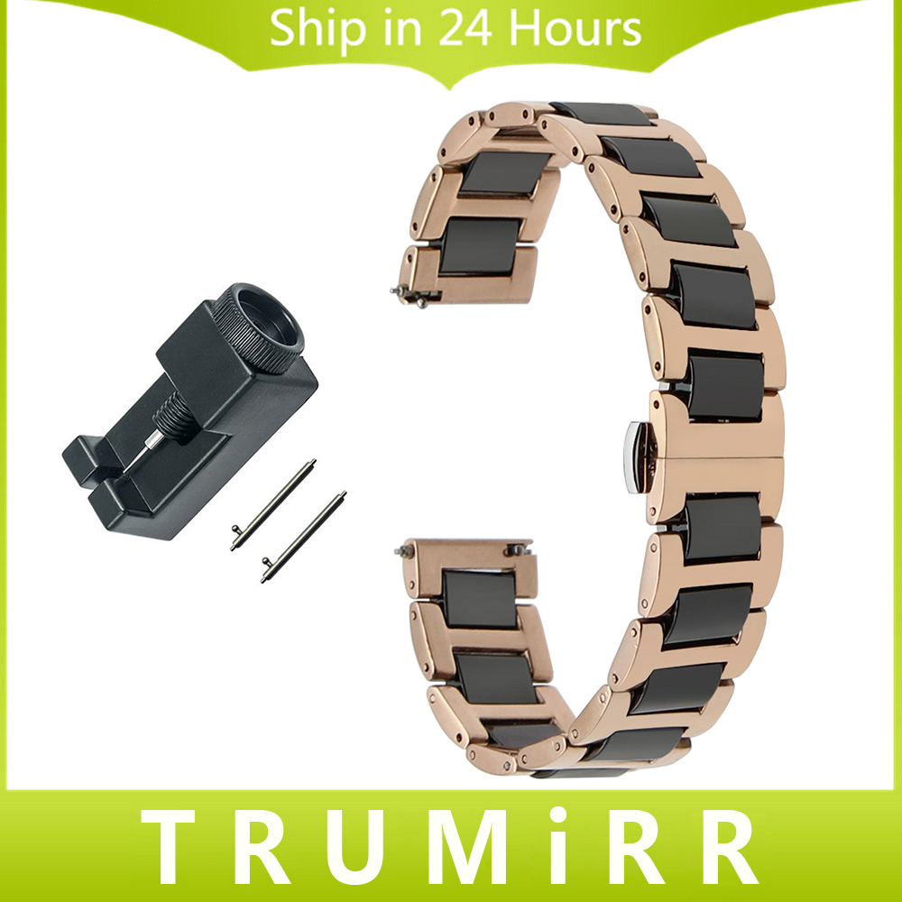 Ceramic & Stainless Steel Watchband Quick Release Strap for Timex CK DW Butterfly Buckle Belt Wrist Bracelet 12 14 16 18 20 22mm