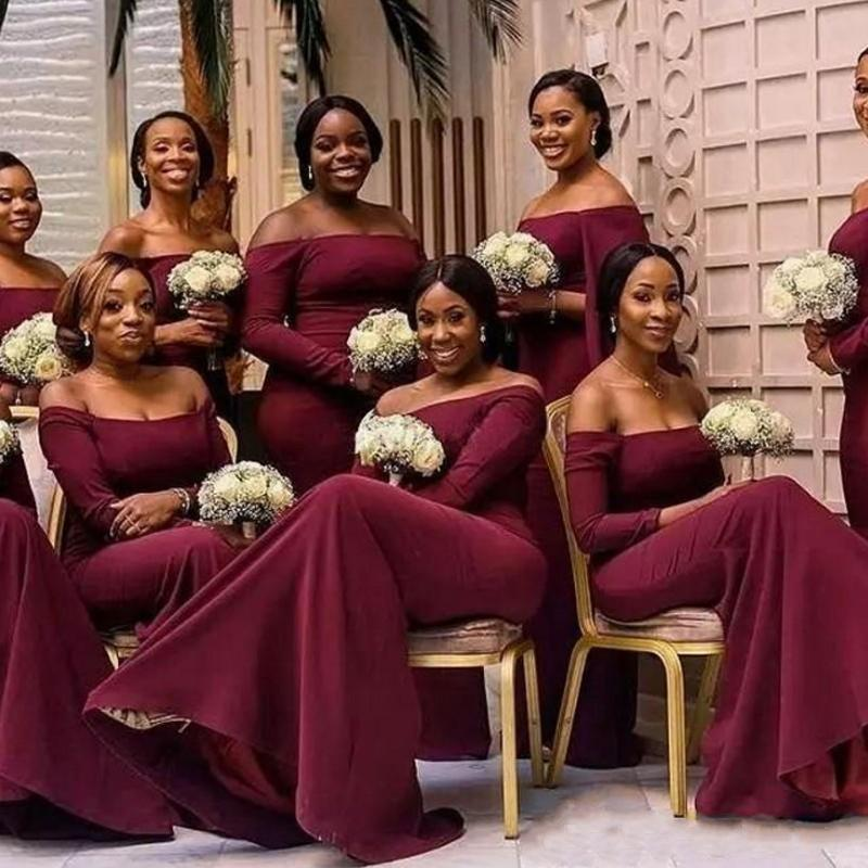 Plus Size Burgundy   Bridesmaid     Dresses   Cheap Off The Shoulder Long Sleeve Mermaid Floor Length Maid of Honor