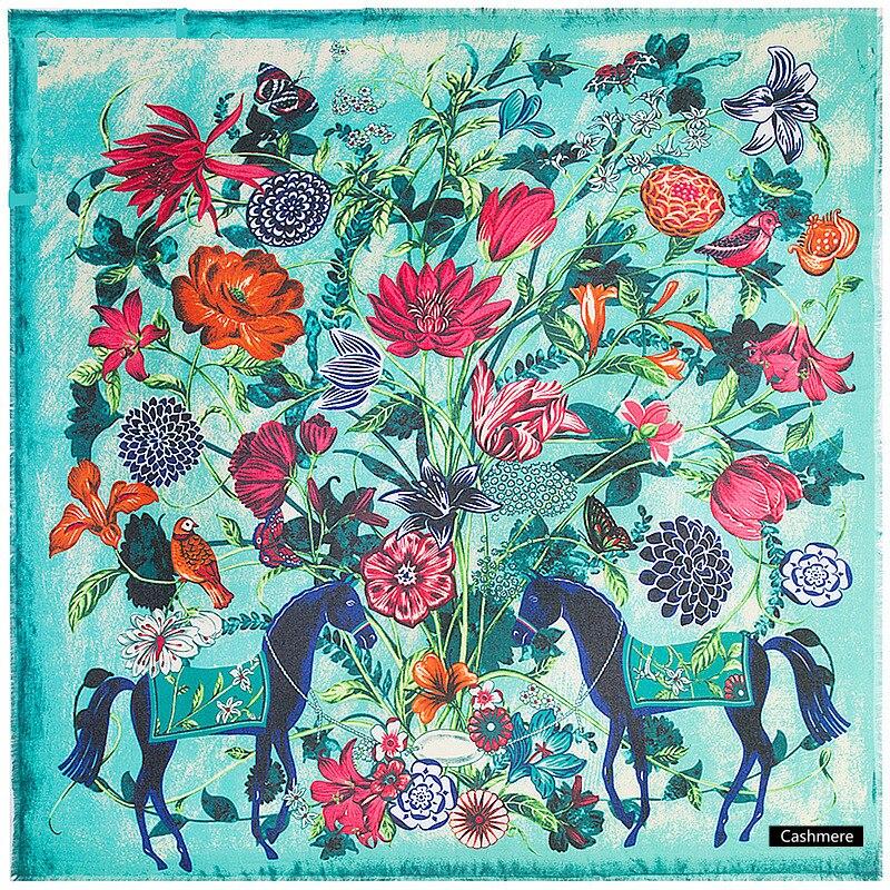 LESIDA Bufandas de Cachemira Pashmina Bufanda Mujeres Invierno Gruesa Caliente Horse Imprimir Chales Bufandas Echarpe Bandana Femme 130*130 CM 9249