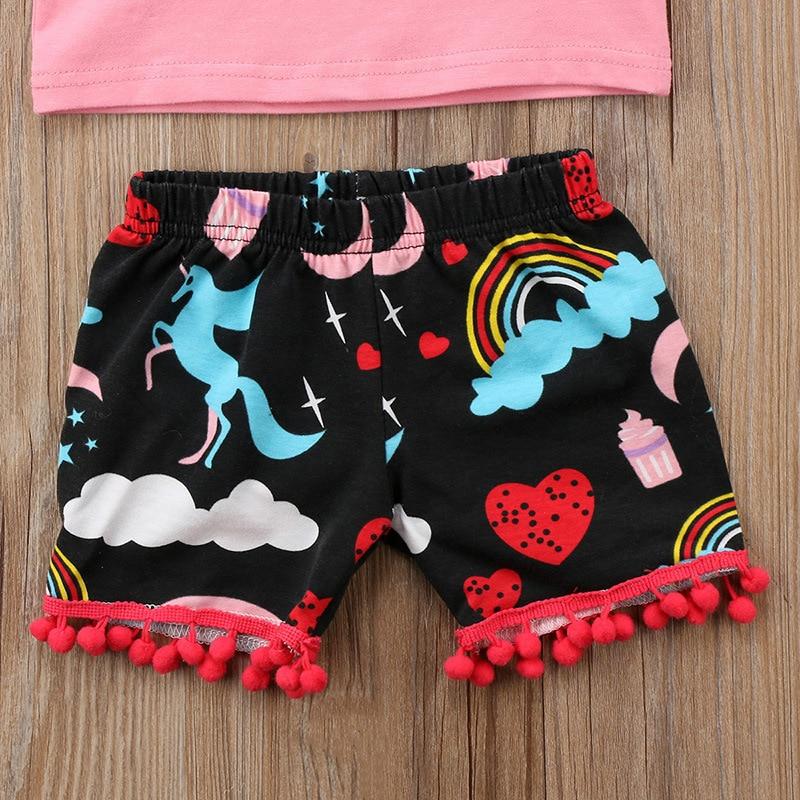 Funfeliz Berbeć Dziewczyny Letnie Ubrania Zestaw Cute Jednorożec - Ubrania dziecięce - Zdjęcie 6