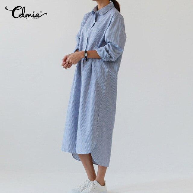 942a23af57d775 Celmia Femmes chemise rayée Robe 2019 Automne à manches longues Blouse  Tournent Vers Le Bas Bouton Longue Chemise Lady Robe grande taille S-3XL