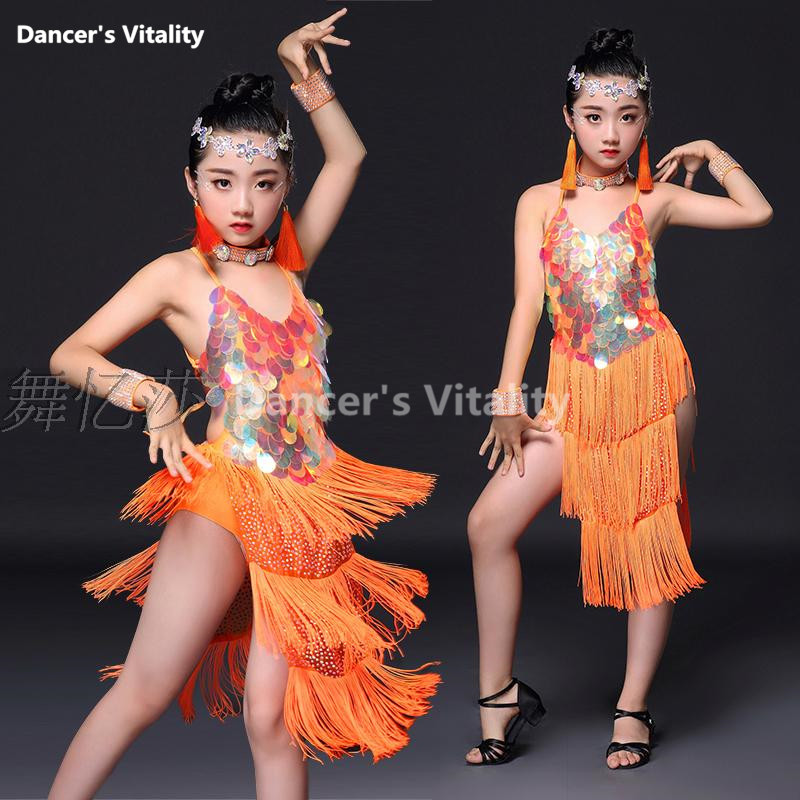 Child Tassels Latin Dance Ballroom Girls Samba salsa dresses sequin Costumes women tango dress Latin dress for girls