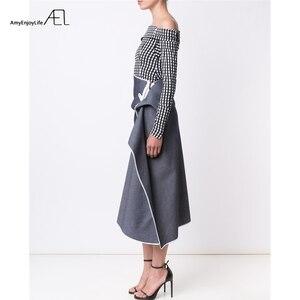 Image 3 - AEL גבוה מותניים טלאי ג ינס חצאית להתנפנף גבירותיי Longuette 2017 Saia Midi קיץ מסלול נשים של בגדי נהיגה לראשונה חצאית כיסא