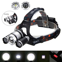 Zoomable Adjustable Focus 20000 LM Head Torcdh 3 XML T6 LED beads Headlamp Headlight+2*18650 Battery+USB Rechargeable Charger new xml t6 2 r5 led uv 6000 lm headlight headlamp lantern purple led flashlight 2 x18650 4000mah rechargeable battery charger