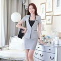 Summer Ladies Grey Blazer Womens Business Suits Formal Women Skirt Suits Jacket and Skirt Sets Office Uniform Style OL