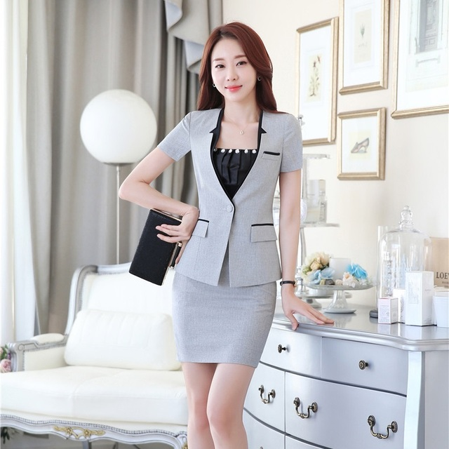 Aliexpress.com : Buy Summer Ladies Grey Blazer Womens Business ...