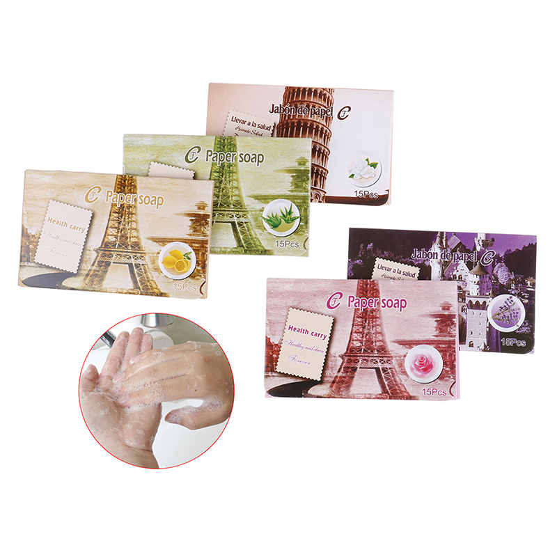 25pcs Disposable Boxe Soap Portable Mini Paper Soap Outdoor Travel Soap Paper Washing Hand Bath Clean Scented Slice Sheets