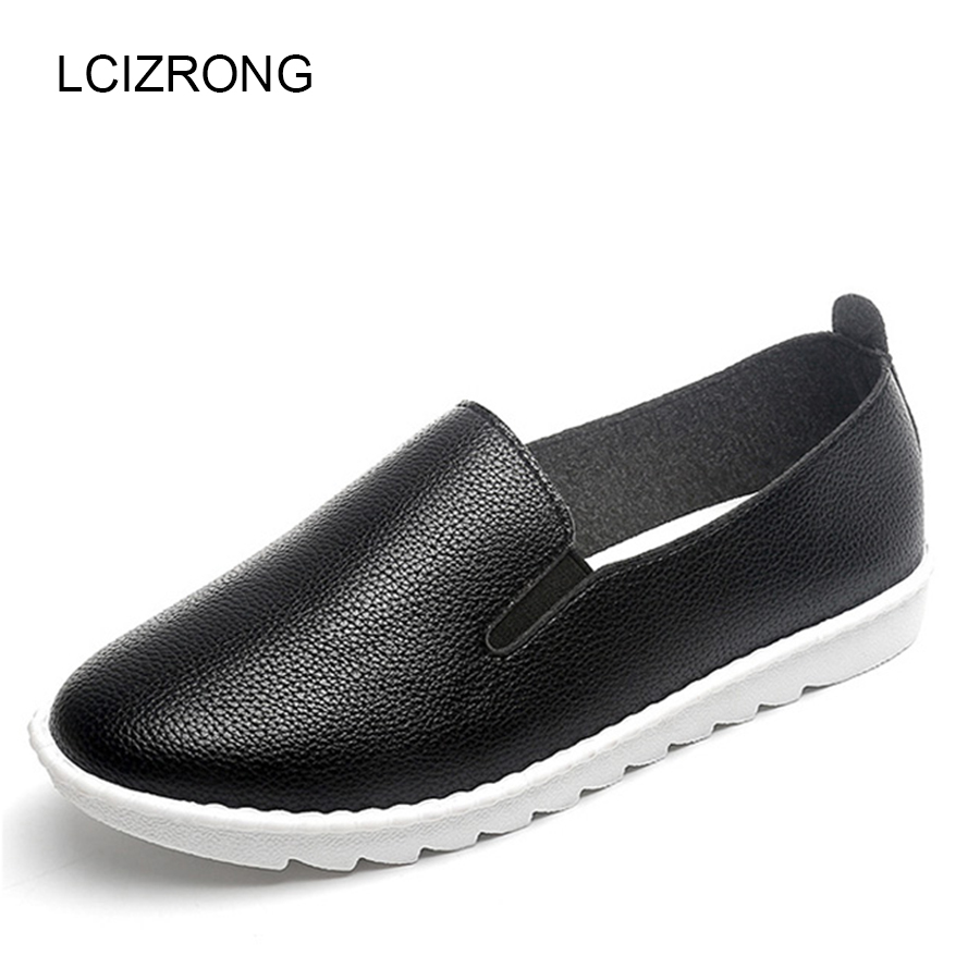 LCIZRONG Spring Loafers Women Flat Shoes Casual Solid Slip-On Round Toe Flats Fashion Breathable Black White Shoes Female New new shallow slip on women loafers flats round toe fishermen shoes female good leather lazy flat women casual shoes zapatos mujer