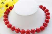ddh003204 AAA++ REAL natural 17 15MM round red coral bead necklace