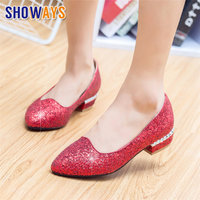 Sweet Women Pumps Studded Low Square Block Heels Silver Gold Bling Sequined Cloth Pointed Toe Wedding Party Slip on Ladies Shoes