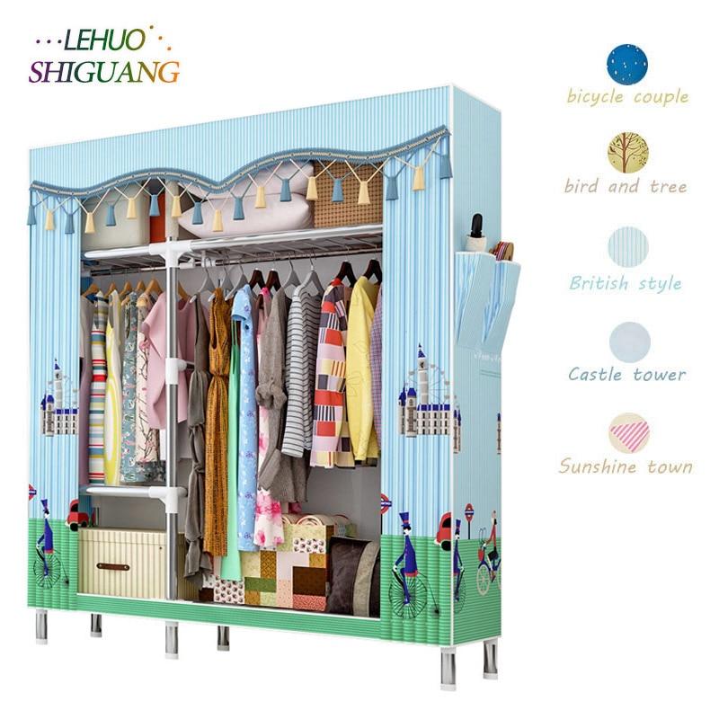 Modern Economical Assembly Wardrobe 25MM Reinforcement Steel Tube Cloth Closet Bedroom Dust-proof Storage Cabinet