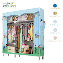 цена на Modern Economical Assembly Wardrobe 25MM Reinforcement Steel Tube Cloth Closet Bedroom Dust-proof Storage Cabinet