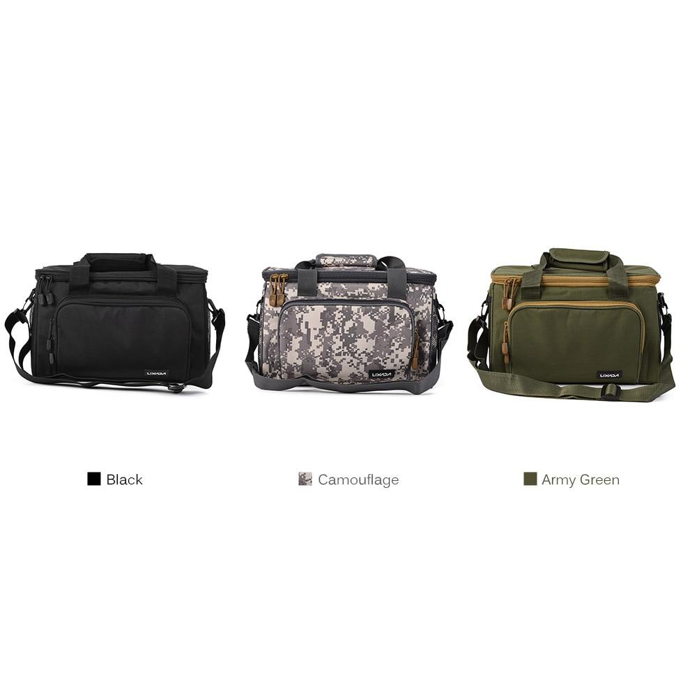 Image 3 - Lixada Fishing Bag Portable Multifunction Canvas Fishing Lure Reel Shoulder Waist Backpack Bag for Carp Pesca 37 * 25 * 25cmfishing bagfishing lure bagfishing reel bag -