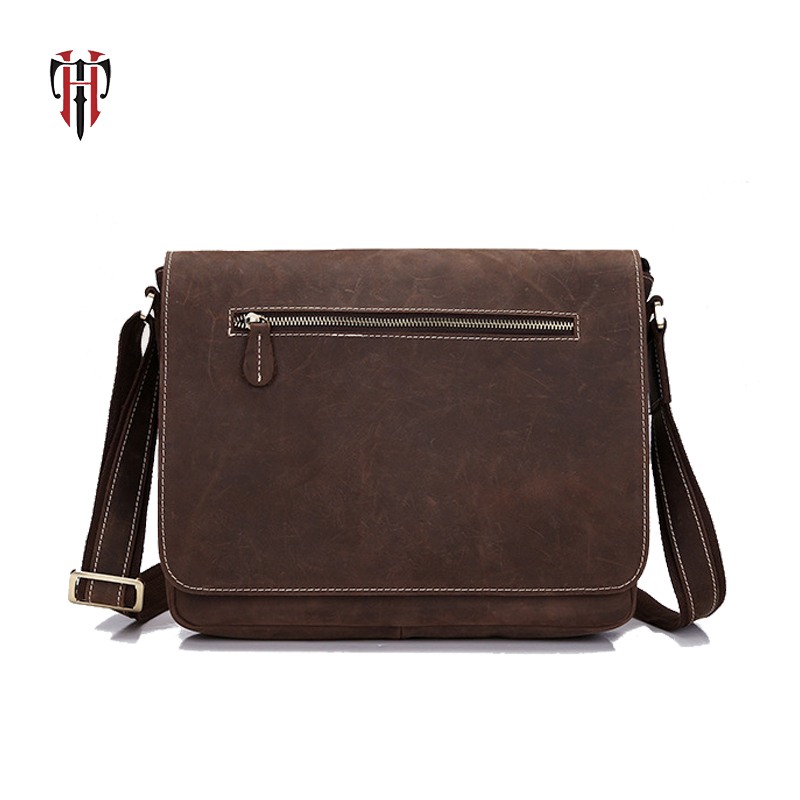 TIANHOO crazy horse leather man bags crossbody vintage casual style messenger shoulder bag for men PAD/cellphone wallet pockets