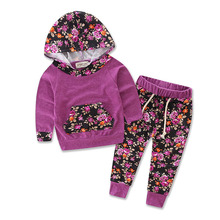 цены 2018 Floral Newborn Toddler Kids Girls Long Sleeve Hooded Sweatshirt Tops+Pant Legging 2PCS Outfit Tracksuit Autumn Clothing Set