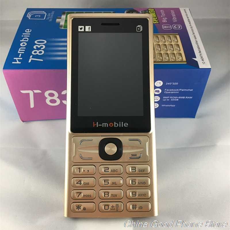 H-Mobile T830 Three Sim Cards Three Standby Big Torch Big Speaker Vibration Radio  Mobile Cell Phone Whatsapp Facebook Russian