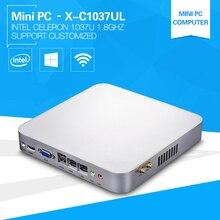 Низкая Мощность X86 мини-компьютер 1037U Celeron Dual Core 1.8 ГГц 2 * lan тонкий клиент Мини barebone сервер