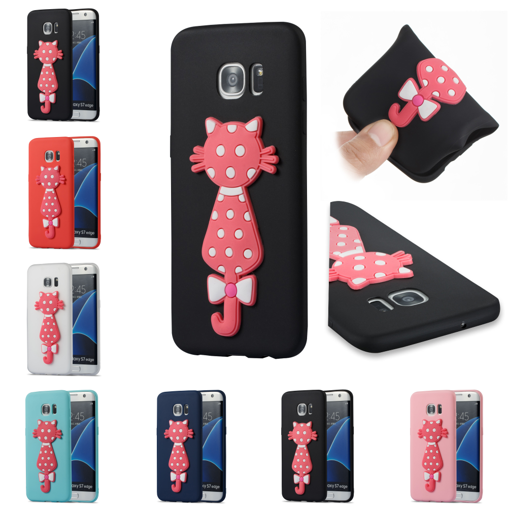 TPU 3D Cat Cartoon Silicone Phone Cell Mobile Case Cover Bag Cove For Samsung Samsuns Sumsang Galaxy Galaxi S7 Edge SM G935F