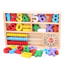 New arrive hot sale Mathematic Abacus Math Counting Calculating Learning Box Clock Multifunctional Wooden Educational Toys