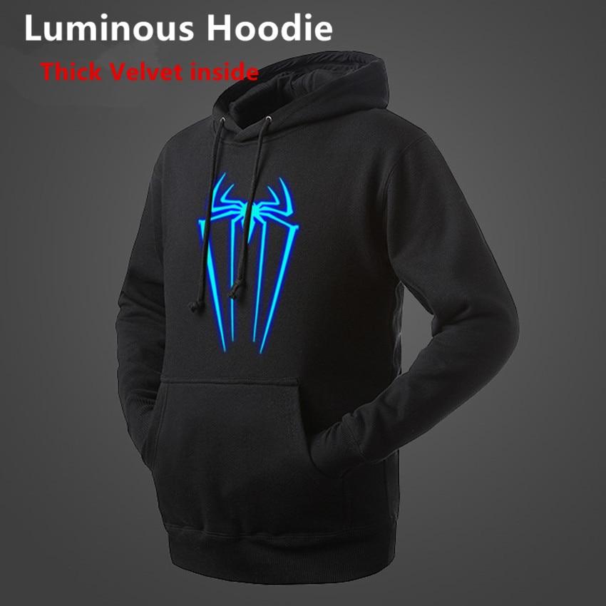Height 95-185CM Novelty 3D Print Shirt children Luminous Hoodie Spring Autumn Winter Boy Tops Light Clothes Superman spiderman